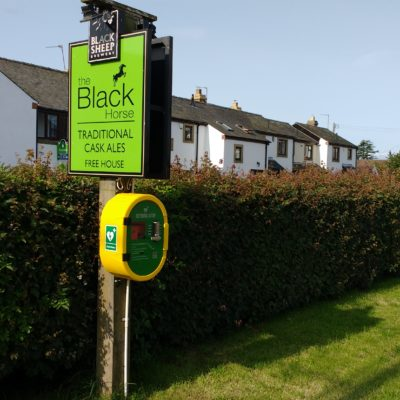Defibrillator Container On The Black Hourse Sign