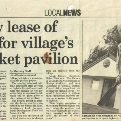 Newspaper Article On The Opening Of The Refurbished Pavilion